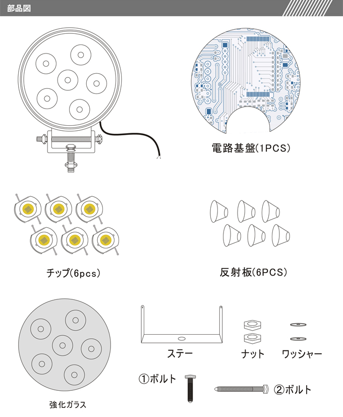 LED作業灯 18W 超薄型 LEDワークライト DC12V〜24V対応 1800LM IP67防水