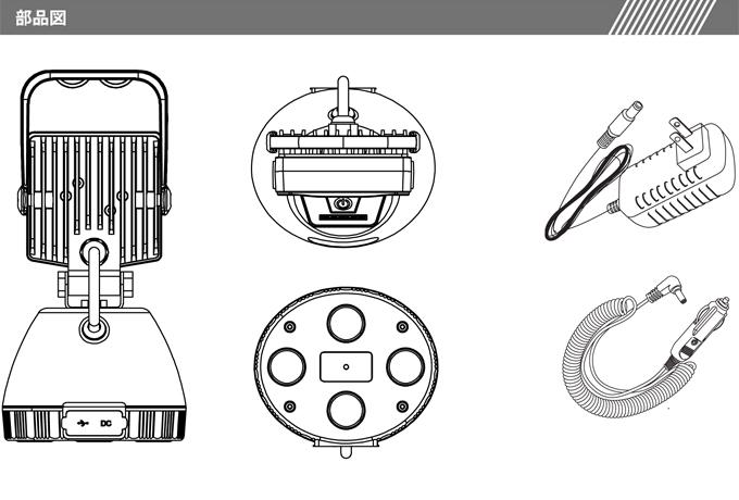 充電式 LED作業灯 15W サンダービーム ポータブル作業灯 投光器